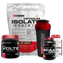 Kit Optimum Isolate Whey Protein 2kg Chocolate + Voltz 250g +Creatina 100g + Bcaa4800 120Cáps +Coqueteleira-Bodybuilders -