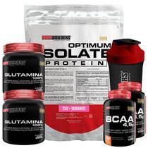 Kit Optimum Isolate Whey Protein 2kg  Morango  +  2x Bcaa 100g  +  2x Glutamina 300g  +  Coqueteleira - Bodybuilders -