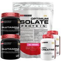 Kit Optimum Isolate Whey Protein 2kg  Morango +  2x Creatina 100g + 2x Glutamina 300g - Bodybuilders -