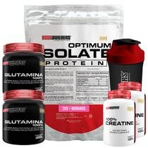 Kit Optimum Isolate Whey Protein 2kg  Morango  + 2x Creatina  100g + 2x  Glutamina 300g +  Coqueteleira - Bodybuilders -