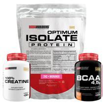 Kit Optimum Isolate Whey Protein 2kg   Morango  +  Bcaa 100g  +  Creatina 100g - Bodybuilders -