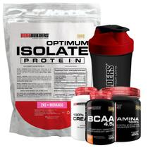 Kit Optimum Isolate Whey Protein 2kg Morango +Bcaa 100g + Creatina 100g + Glutamina 300g + Coqueteleira - Bodybuilders -