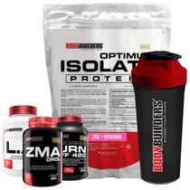 Kit Optimum Isolate Whey Protein 2kg Morango+Cafeina  60Cáps + L.A 120Cáps +Zma 120Cáps +Coqueteleira+Bodybuilders -