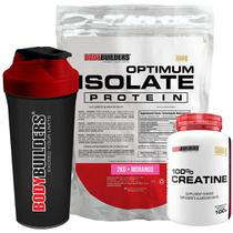Kit Optimum Isolate Whey Protein 2kg  Morango +  Creatina 100g  + Coqueteleira - Bodybuilders -