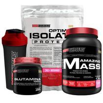 Kit Optimum Isolate Whey Protein 2kg  Morango  +  Hiper amazing 1,5kg + Glutamina 300g  + Coqueteleira + Bodybuilders -