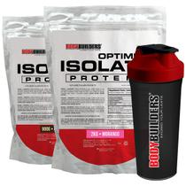 Kit Optimum Isolate Whey Protein 2kg  Morango + Optimum Isolate Whey Protein-Chocolate 900g + Coqueteleira -Bodybuilders -