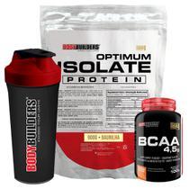 Kit Optimum Isolate Whey Protein 900g  Baunilha  +  Bcaa 100g +  Coqueteleira - Bodybuilders -