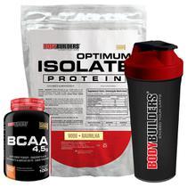 Kit Optimum Isolate Whey Protein 900g   Baunilha  +  Bcaa 100g +  Creatina 100g - Bodybuilders -