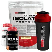 Kit Optimum Isolate Whey Protein 900g   Baunilha  +  Bcaa 100g +  Creatina 100g +  Coqueteleira - Bodybuilders -