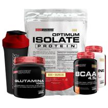 Kit Optimum Isolate Whey Protein 900g  Baunilha +Bcaa 100g +Creatina 100g +Glutamina 300g + Coqueteleira-Bodybuilders -