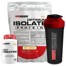 Kit Optimum Isolate Whey Protein 900g   Baunilha  +  Creatina 100g +  Coqueteleira - Bodybuilders -