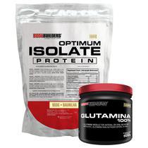 Kit Optimum Isolate Whey Protein 900g  Baunilha  +  Glutamina 500g- Bodybuilders -