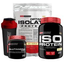 Kit Optimum Isolate Whey Protein 900g Baunilha+ Iso Protein 900g Baunilha +Glutamina 300g +Coqueteleira + Bodybuilders -