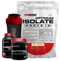 Kit Optimum Isolate Whey Protein 900g  Baunilha  +  Thermo Start 100 Cáps  Glutamina 300g  + Coqueteleira + Bodybuilders -
