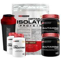 Kit Optimum Isolate Whey Protein 900g Chocolate + 2x Creatina  100g +  2x  Glutamina 300g + Coqueteleira -  Bodybuilders -