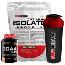 Kit Optimum Isolate Whey Protein 900g   Chocolate  +  Bcaa 100g +  Creatina 100g - Bodybuilders -