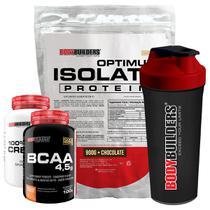 Kit Optimum Isolate Whey Protein 900g   Chocolate  +  Bcaa 100g +  Creatina 100g +  Coqueteleira - Bodybuilders -
