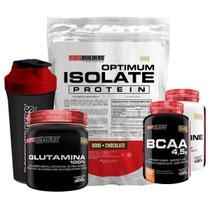 Kit Optimum Isolate Whey Protein 900g  Chocolate +Bcaa 100g +Creatina 100g +Glutamina 300g + Coqueteleira-Bodybuilders -