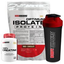 Kit Optimum Isolate Whey Protein 900g   Chocolate +  Creatina 100g +  Coqueteleira - Bodybuilders -