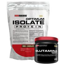 Kit Optimum Isolate Whey Protein 900g  Chocolate  +  Glutamina 500g- Bodybuilders -