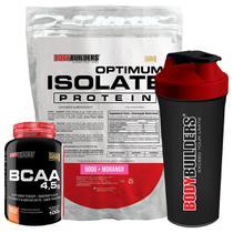 Kit Optimum Isolate Whey Protein 900g   Morango  +  Bcaa 100g +  Creatina 100g - Bodybuilders -