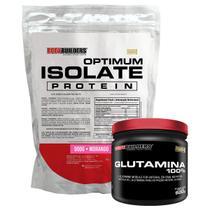 Kit Optimum Isolate Whey Protein 900g  Morango  +  Glutamina 500g- Bodybuilders -