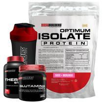 Kit Optimum Isolate Whey Protein 900g  Morango  +  Thermo Start 100 Cáps  Glutamina 300g  + Coqueteleira + Bodybuilders -