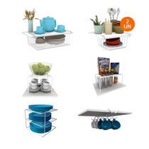Kit Organizador Armário Cozinha Completo em Aço 7 Unidades - Dicarlo
