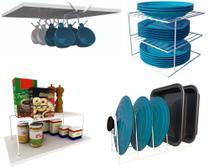 Kit Organizador Armário Cozinha Xícara Panela Prato Aço 4 Un - Dicarlo