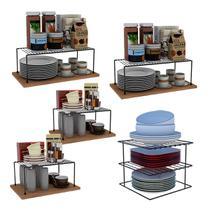 Kit Organizador Armário de Cozinha Prateleira Prato Luxo Aço - Dicarlo