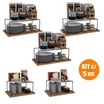 Kit Organizador Cozinha Aramado Prateleiras Aço Luxo 5un - Dicarlo