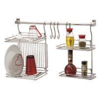 Kit Organizador Cozinha c/ Escorredor De Louça e Prateleiras - Cód 02686 - Cromado