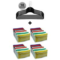 Kit organizador de armário - 4 colmeia para camisetas + 10 cabide slim preto - Vb Home