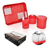 Kit organizador de pia coza 4 pçs c/ escorredor 99256 brinox -