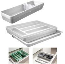 Kit Organizador Gavetas Talheres C/ Extensor Porta Talher Facas Cozinha Logic - Ou -