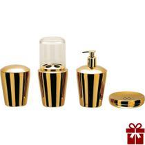 Kit Organizador P/ Banheiro Spa Golden 4 Peças Aço Inox - Dourado - Hara