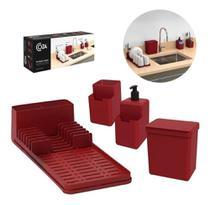 Kit organize sua pia 4 peças single vermelho 99311/1465 - Coza