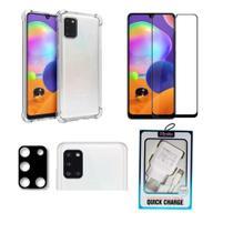 Kit P/ Galaxy A31 Capa Anti Impacto + Pel. Vidro 3D + Pel. Lente da Câmera + Carreg. Turbo Kingo - Yellow Cell