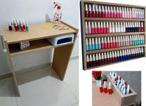 Kit P/ Manicure 60cm  Mesa +expositor+compartimento Mdf Cru p/ pintura - Loja Straub