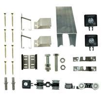 Kit p/ Porta de Correr 4 Roldanas 4 Suportes - Trilho 1,30 M - Portas até 62cm - Alumínio Natural - Al-Fer