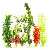 Kit PA i c/ 6 plantas plasticas enfeite de aquarios e lagos - Kares