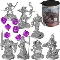 Kit Pack Latinha C/ 7 Miniaturas Rpg Ded Dungeons And Dragons D&d + Jogo de Dados - Renascença