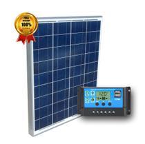 Kit Painel Placa Solar 60w E Controlador Carrega Bateria 12v - FULL SHOP