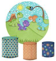 Kit Painel Redondo De Festa e Capas de Cilindro em tecido Dinossauros Cute Sol - Sublime Sonhos