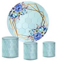 Kit Painel Redondo De Festa e Capas de Cilindro em tecido Fundo Geométrico Flores Azuis - Sublime Sonhos