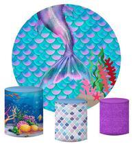 Kit Painel Redondo De Festa e Capas de Cilindro em tecido sublimado Cauda de Sereia - Sublime Sonhos
