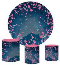 Kit Painel Redondo De Festa e Capas de Cilindro em tecido sublimado Cerejeira Fundo Azul - Sublime Sonhos