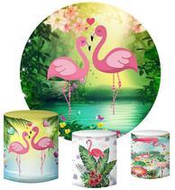 Kit Painel Redondo De Festa e Capas de Cilindro em tecido sublimado Flamingos Lago - Sublime Sonhos