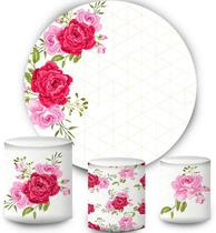 Kit Painel Redondo De Festa e Capas de Cilindro em tecido sublimado Flores Rosas - Sublime Sonhos