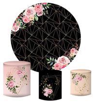 Kit Painel Redondo De Festa e Capas de Cilindro em tecido sublimado Fundo Geométrico Flores Rosas - Sublime Sonhos